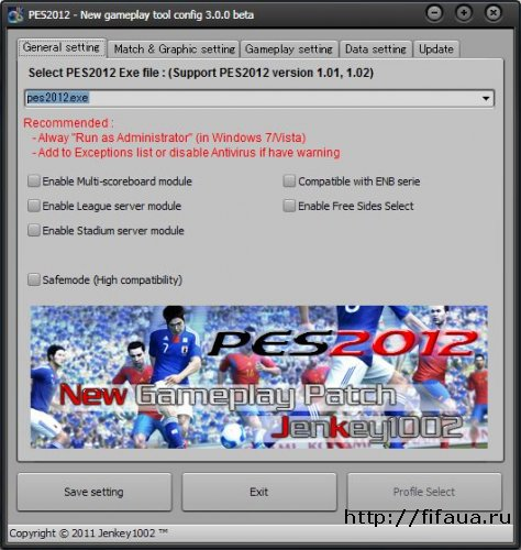 PES 2012 Gameplay tool : 3.00 - Compatible Offical Patch
