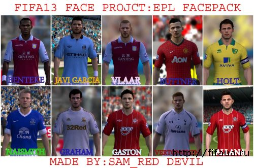 FIFA 13 Face Project: EPL Facepack by sam_red_devil