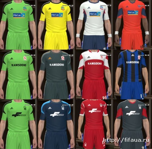 PES 14 Bolton, Middlesbrough, Nottingham 13-14 Kit Sets