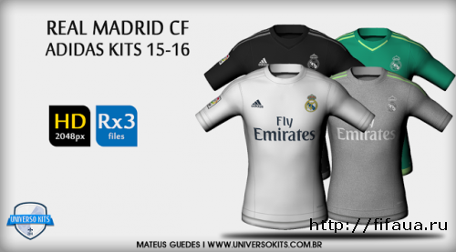 FIFA 15 REAL MADRID CF ADIDAS 15/16 HD + FONT + NUMBERS