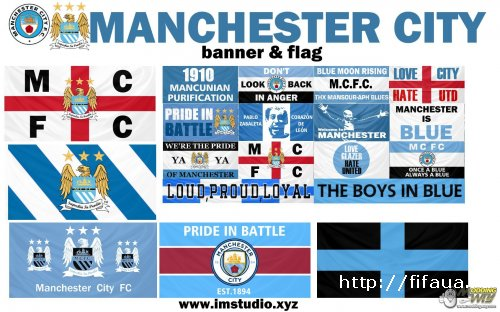Man City banner,flags,new minifaces