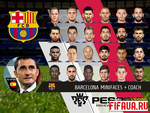 PES 18 FC Barcelona Mini Faces + Coach PC by rkh257